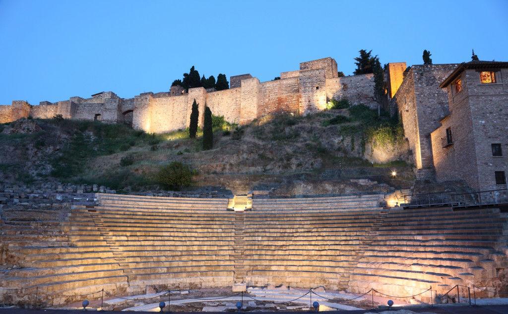 Roman amphitheatre ruin in Malaga, Andalusia Spain